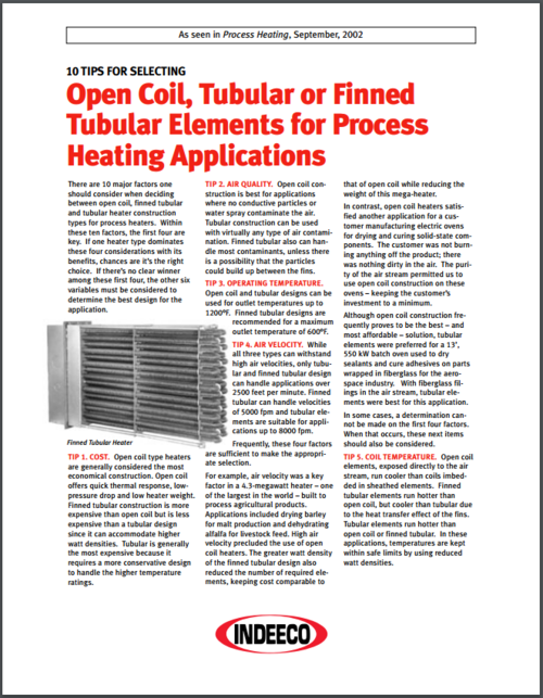 10 Tips for Selecting Process Air Heaters