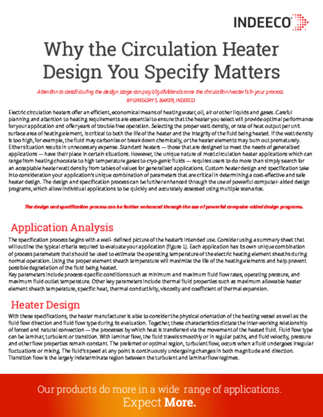 WHY THE CIRCULATION HEATER DESIGN YOU SPECIFY MATTERS