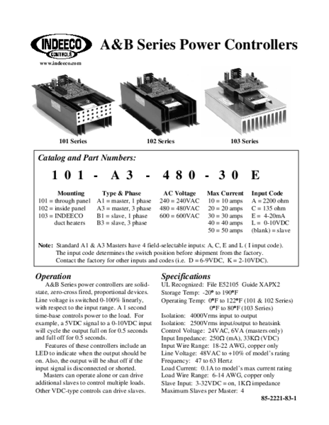 AB POWER CONTROLLER PRODUCT SHEET