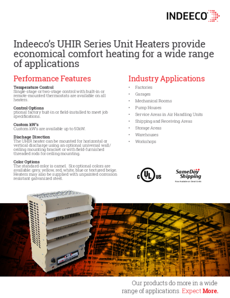 Uhir Series Unit Heater Indeeco