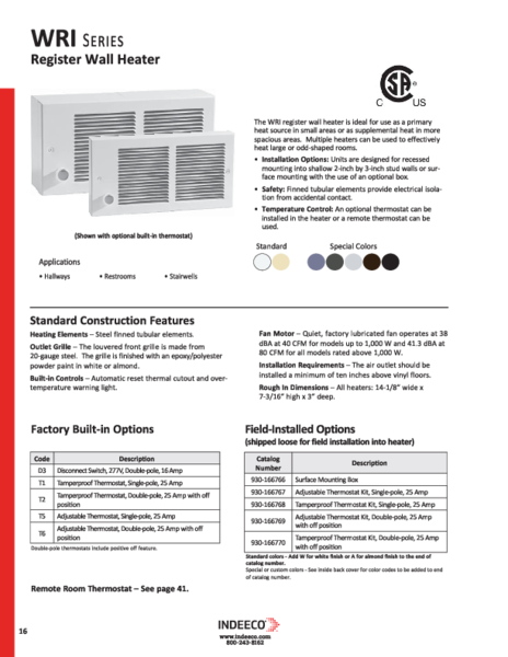 WRI Series Product Page