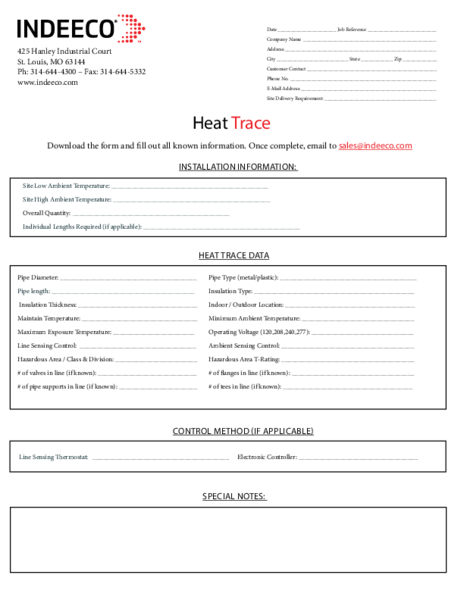 Heat Trace Design Sheet