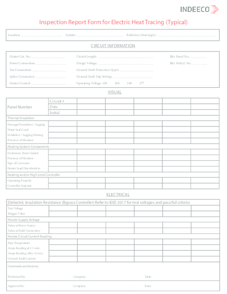 Heat Trace installation and maintenance log sheet